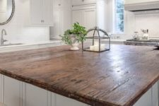 12 white base kitchen island with a reclaimed wood top looks awesome