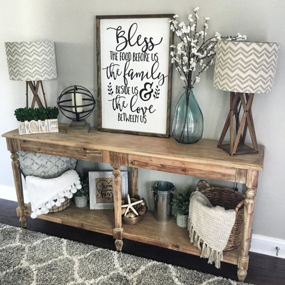 wooden console table with an additional shelf