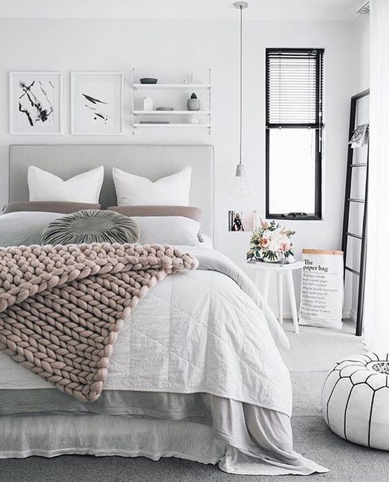 blush chunky knit blanket for cozy bedroom decor