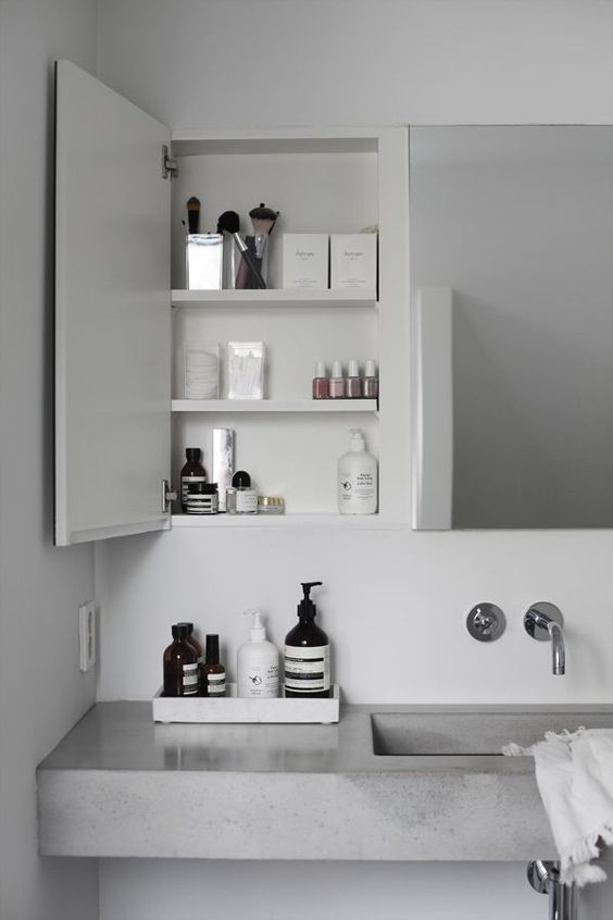 concrete countertop and sink for a simple modern bathroom