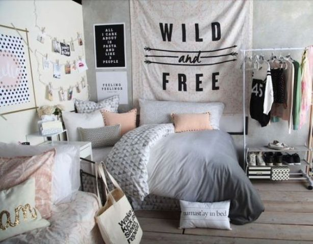 modern dorm room with a touch of blush looks more girlish