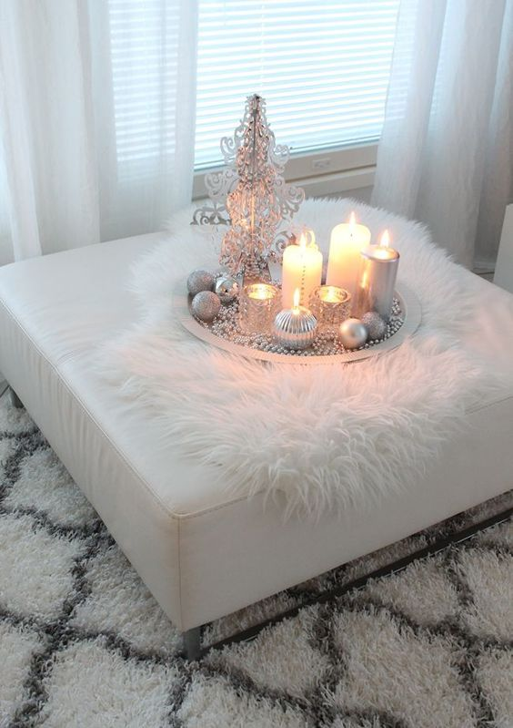 cover a usual ottoman with faux fur to add coziness