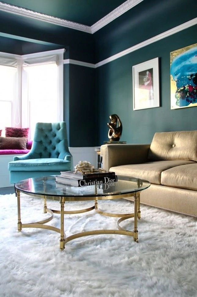 gold metallic coffee table add a glam touch to the decor