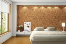 14 sound proofing and a cool texture in one with the headboard cork wall