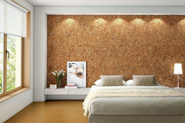 sound proofing and a cool texture in one with the headboard cork wall - 34 Smart And Comfy Cork Home Décor Ideas - DigsDigs