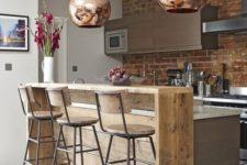 15 industrial-inspired light-colored breakfast bar counter