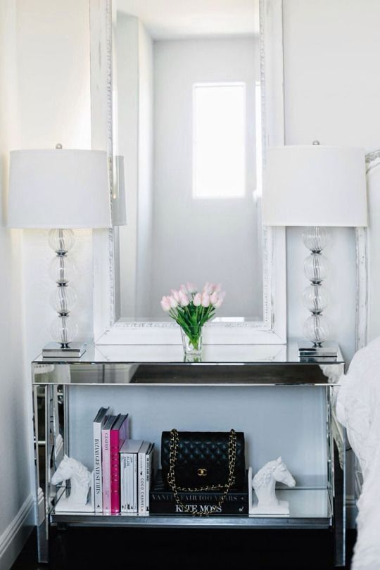 modern mirror console table with an additional shelf