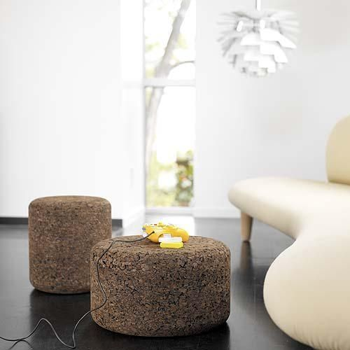 dark cork stools or ottomans with simple design