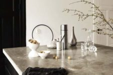 16 kitchen island with a polished concrete countertop