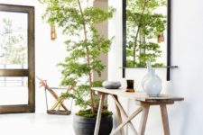 16 tall tree in a pot covered with moss and placed in the entryway