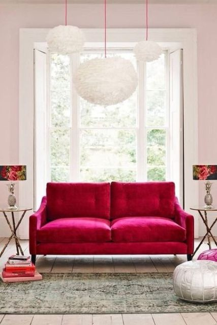 chic soft hot pink sofa will make a statement in a white or just neutral room