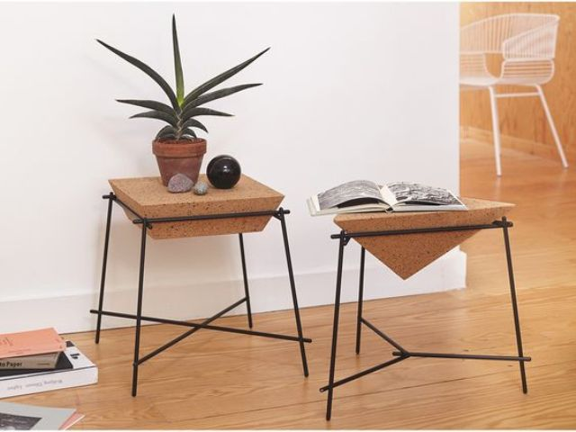 geometric side tables with cork and black framing