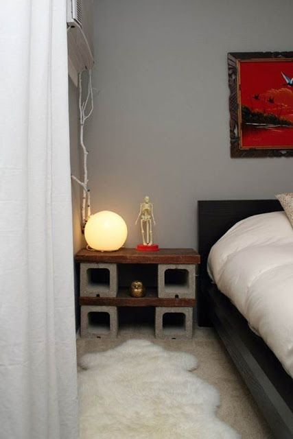 Nightstand With A Concrete Block Base And A Wooden Top