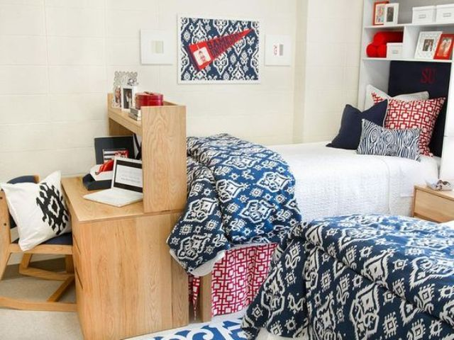 chic and simple dorm room decor in navy, red and white