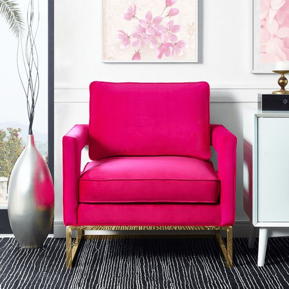 put a glam fuchsia chair with metallic legs in your room for a girlish feel