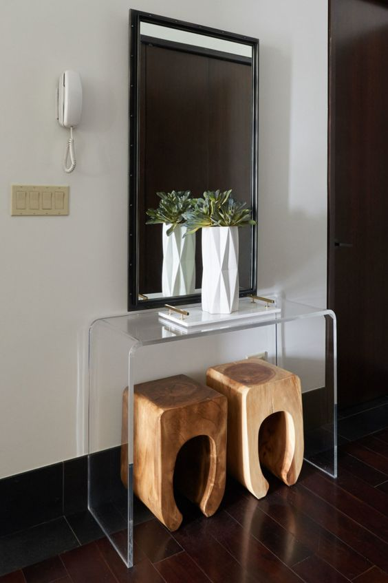 acrylic console table and whimsy wooden stools