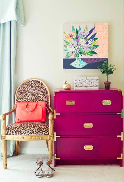 fuchsia mid-century modern dresser made from an IKEA one