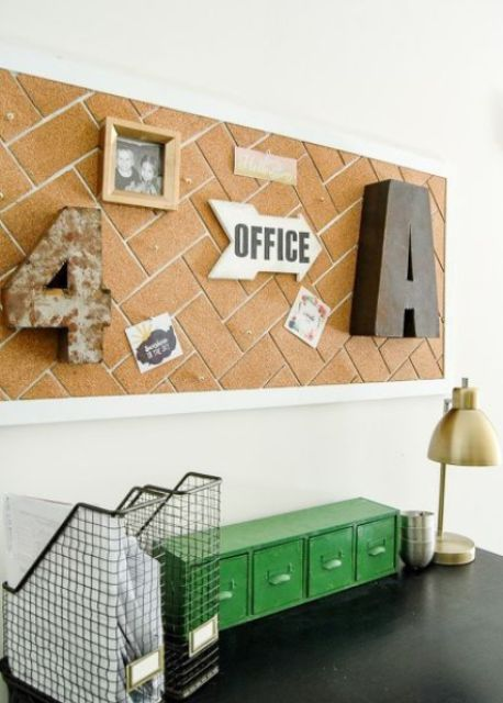 herringbone cork covered board for the office
