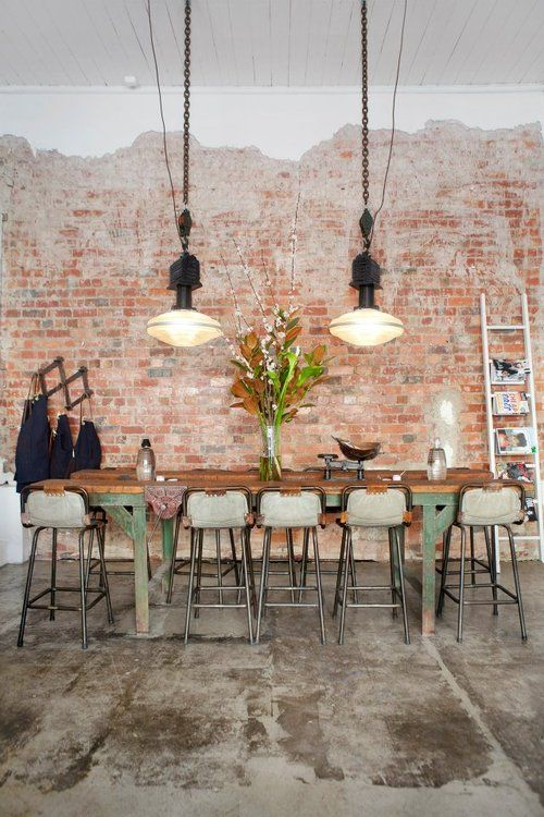 industrial kitchen decor with a rough concrete floor and brick walls