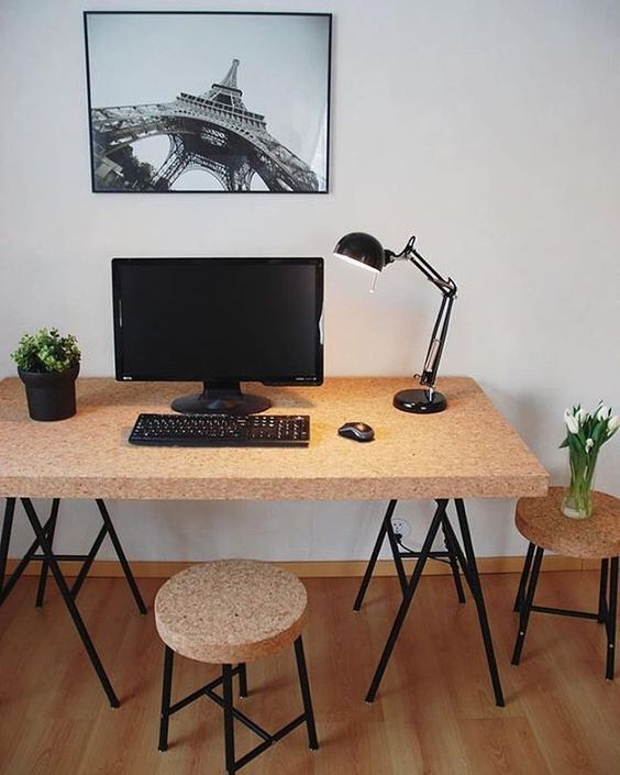 IKEA Sinnerlig stools and a desk will fit any modern home office or crafting space