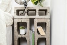 20 a nightstand made of concrete blocks looks rough and industrial