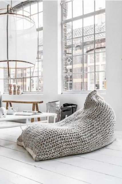chunky knit beanbag chair is a perfect item for winter