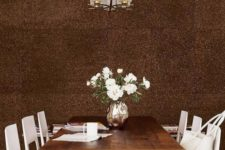 20 dark cork statement wall for a dining space
