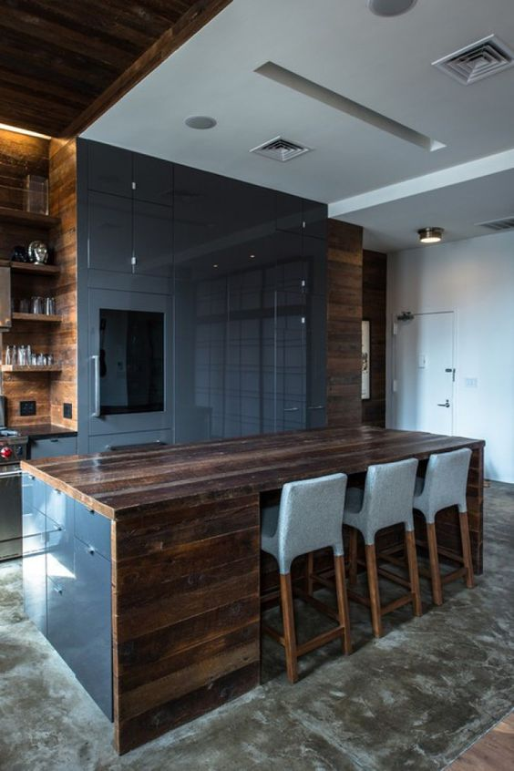 modern kitchen design with dak grey polished panels and dark reclaimed wood tops