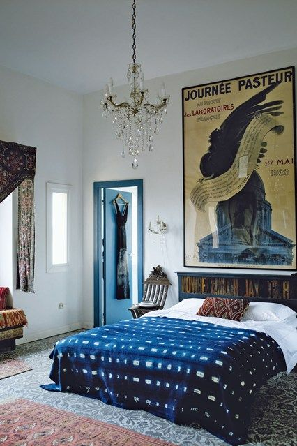 printed indigo bedspread creates a mood here