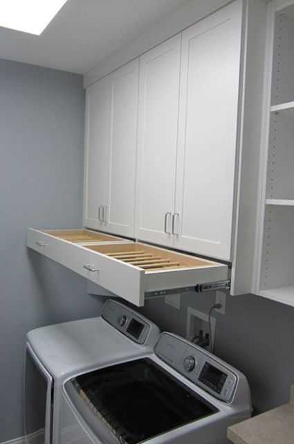 pull out drying rack can be easily hidden when not needed