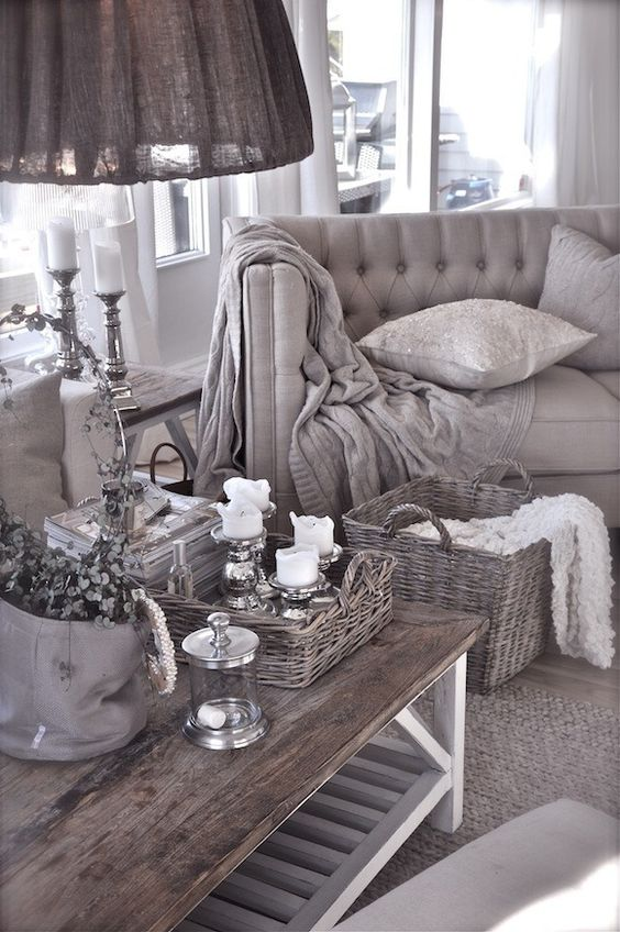 30 timeless taupe home d cor ideas digsdigs for Grey shabby chic living room ideas