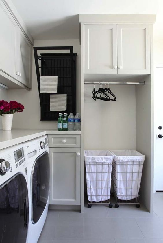cabinets and wire baskets with fabric