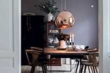 21 copper sphere pendant lamps for the dining aspace