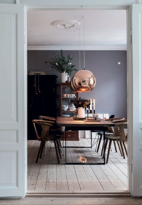 copper sphere pendant lamps for the dining aspace
