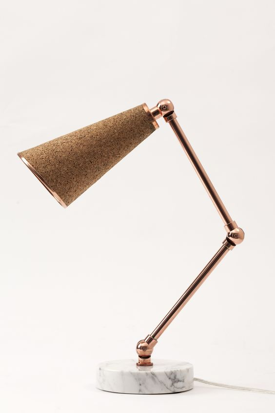 marble, cork and copper is a great and trendy combo, and the lamp looks stunning