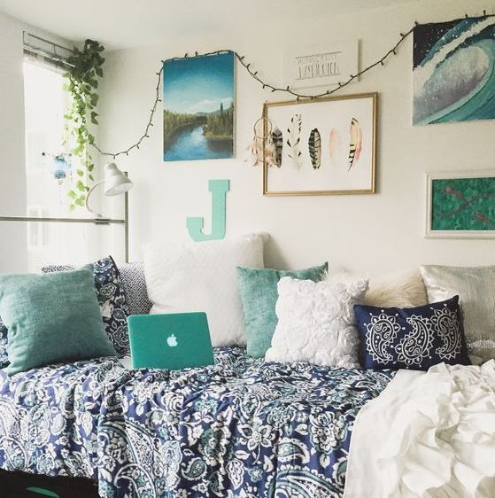 Turquoise And Aqua Touches Feather Art Greenery Boho Textiles