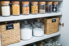 22 baskets, jars and clear containers are great for pantry storage and will prevent dust