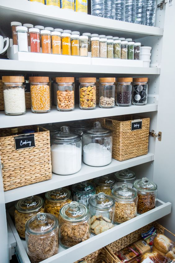 baskets, jars and clear containers are great for pantry storage and will prevent dust