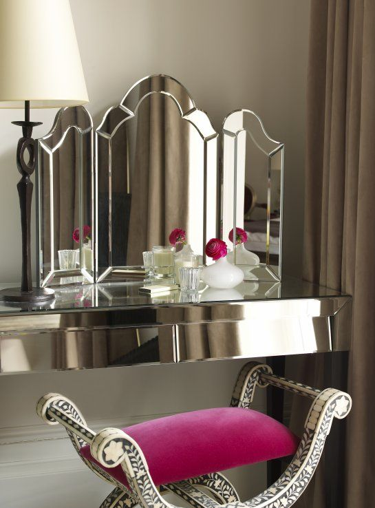exquisite fuchsia chair for the dressing table is just wow