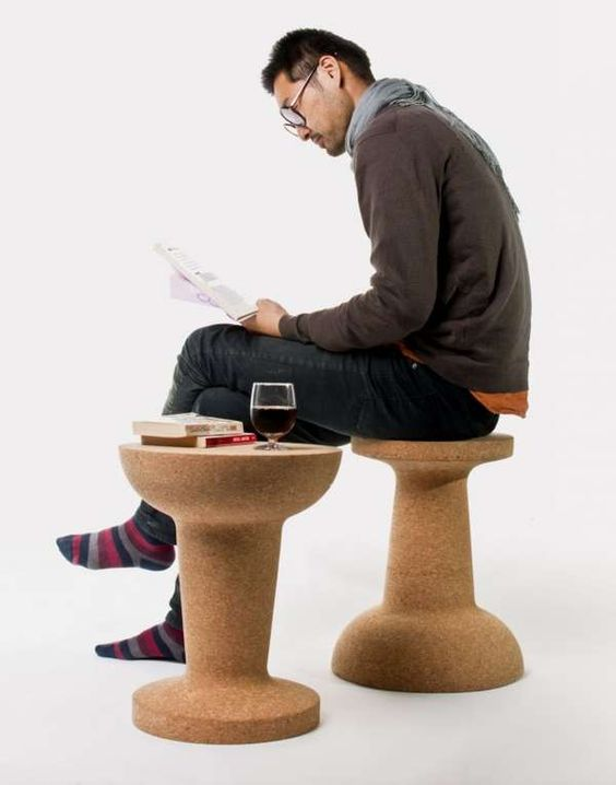 quirky cork stools will fit both a home or a public space