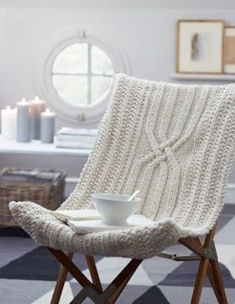 chic white knit cover for a usual chair