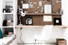 23 office or study nook with a wall covered with cork for comfortable using and as an accent