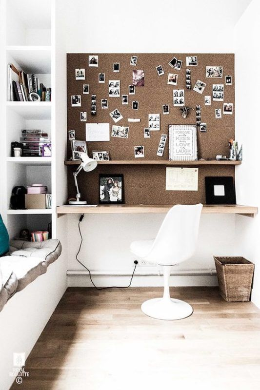 office or study nook with a wall covered with cork for comfortable using and as an accent