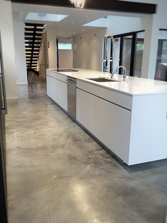 polished concrete is a great idea for high-traffic areas like kitchens