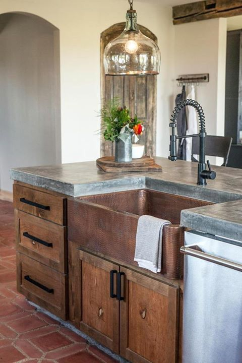 vintage rustic kitchen decor with a polished concrete countertop