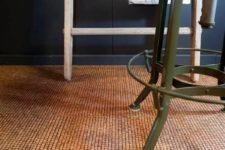 25 cork flooring adds interest and brightens up a dark space