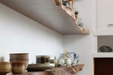 25 live-edge kitchen shelves will give your space a character