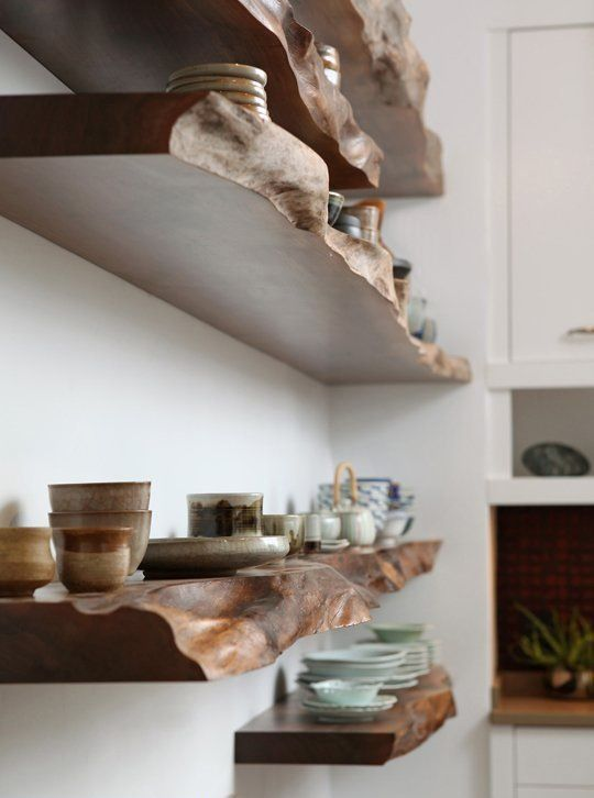 live-edge kitchen shelves will give your space a character