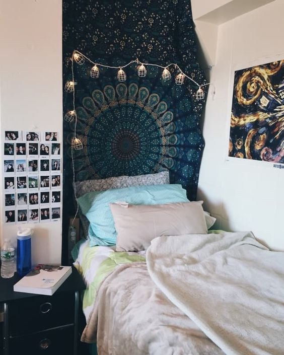 unique boho print blanket on the wall, boho art pieces