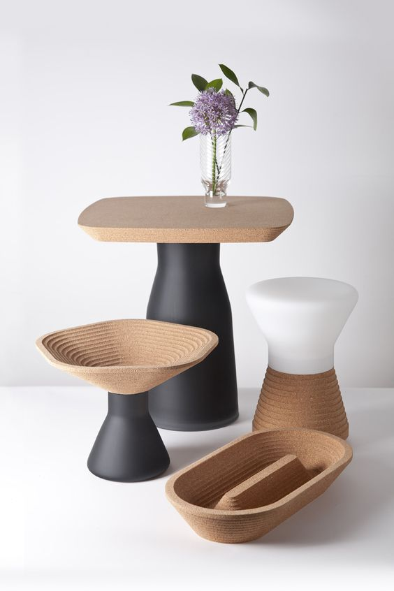 cork kitchen accessories with matte black and white parts for a contrast